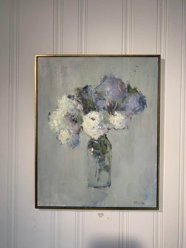 Parisian Bouquet by Nancy Franke, Medium Blue Floral Impressionist Oil Painting For Sale 1