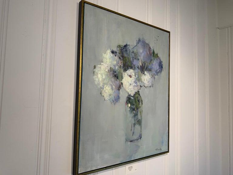 Parisian Bouquet by Nancy Franke, Medium Blue Floral Impressionist Oil Painting For Sale 2