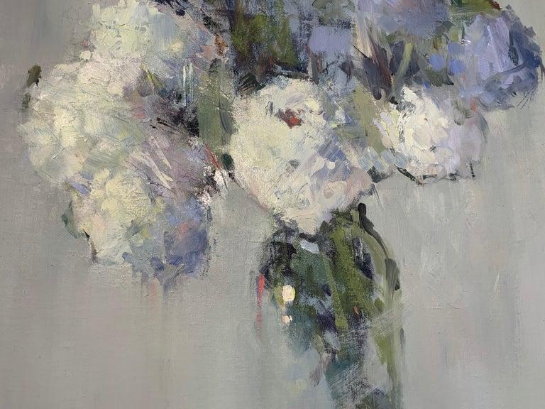 Parisian Bouquet by Nancy Franke, Medium Blue Floral Impressionist Oil Painting For Sale 5
