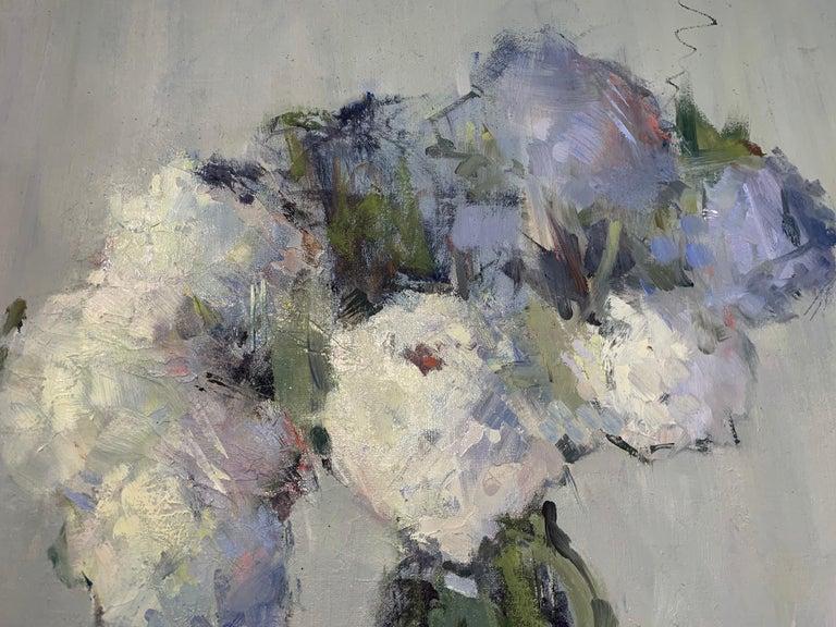 Parisian Bouquet by Nancy Franke, Medium Blue Floral Impressionist Oil Painting For Sale 6