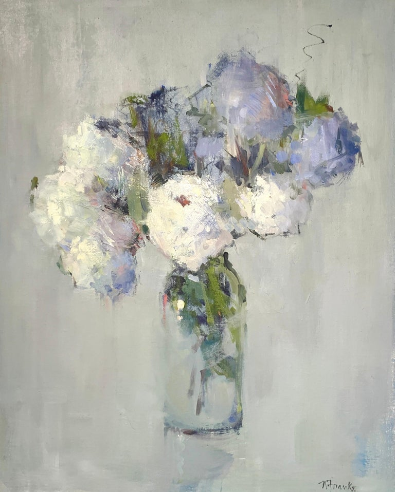 'Parisian Bouquet' is a medium Impressionist oil on canvas floral painting of vertical format created by American artist Nancy Franke in 2020. Featuring a cool palette made of white, green, purple, blush and blue tones, with a pop of red; this