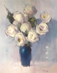 Rose Poem by Nancy Franke, Vertical Impressionist Floral Oil on Canvas Painting