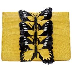 Nancy Gonzalez 2016 Yellow Crocodile Butterfly Clutch