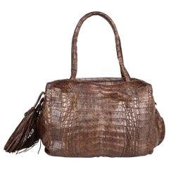 Nancy Gonzalez Bag Brown Gold Washed Crocodile Side Tassles