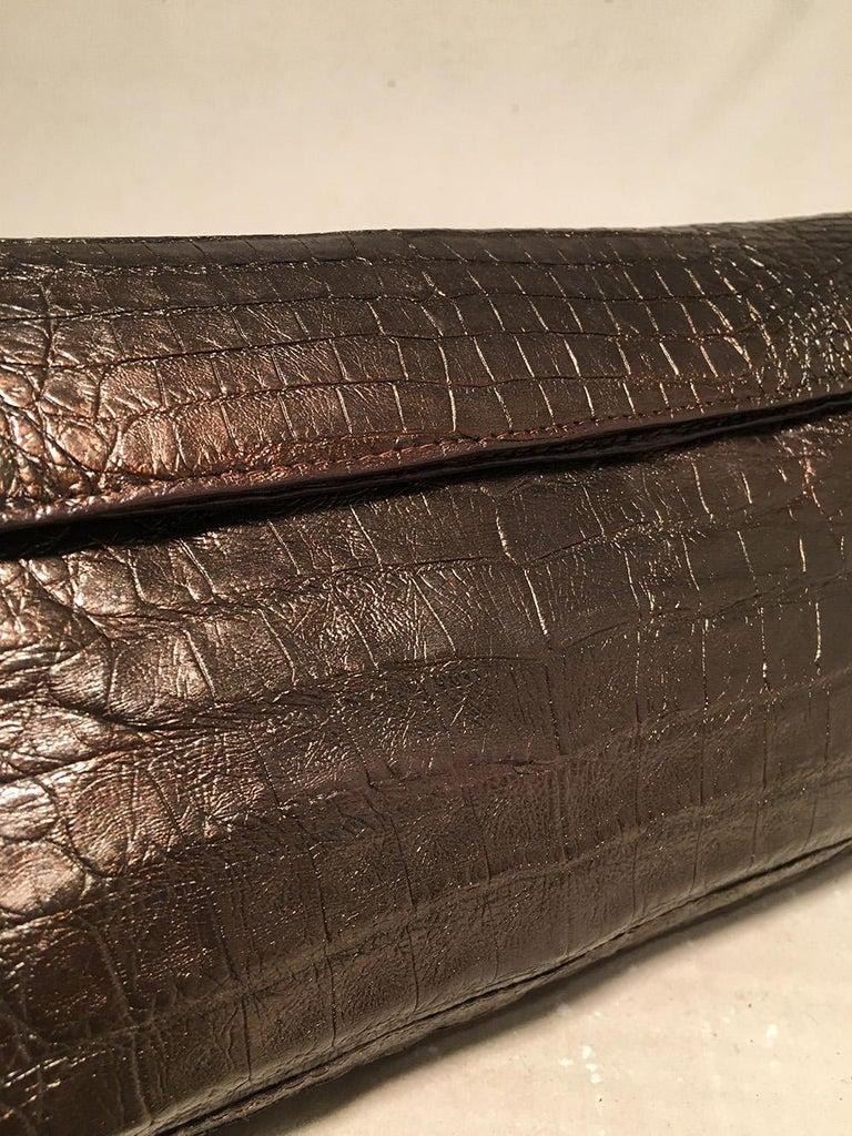 Women's Nancy Gonzalez Bronze Brown Crocodile Clutch For Sale