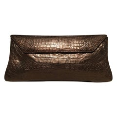 Nancy Gonzalez Bronze Brown Crocodile Clutch