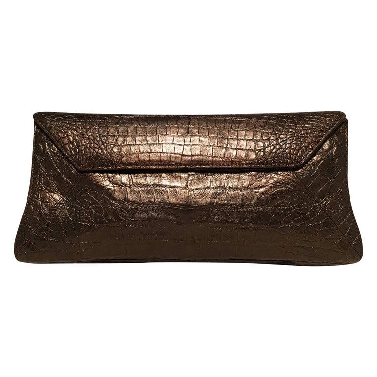 Nancy Gonzalez Bronze Brown Crocodile Clutch For Sale