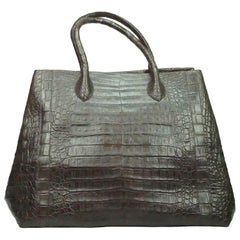 Nancy Gonzalez Brown Crocodile Tote Bag