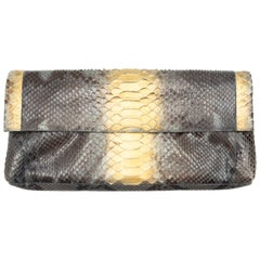 Nancy Gonzalez Brown & Gold Python Clutch