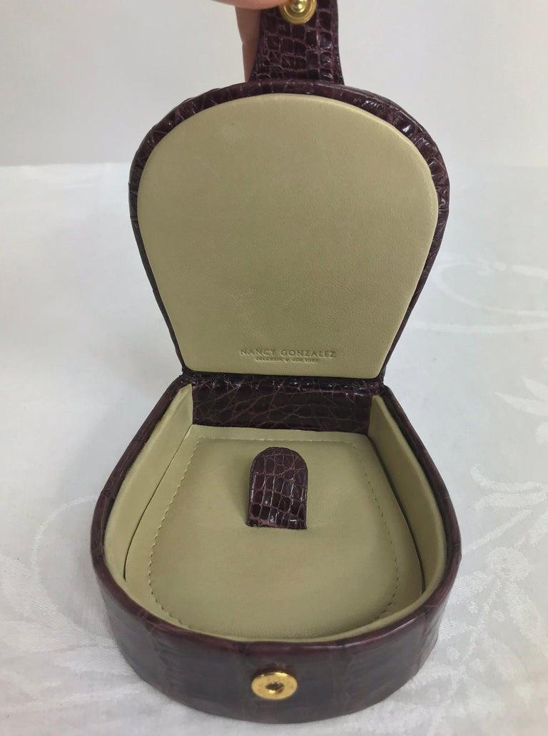 Nancy Gonzalez Burgundy Crocodile Jewelry box For Sale 1