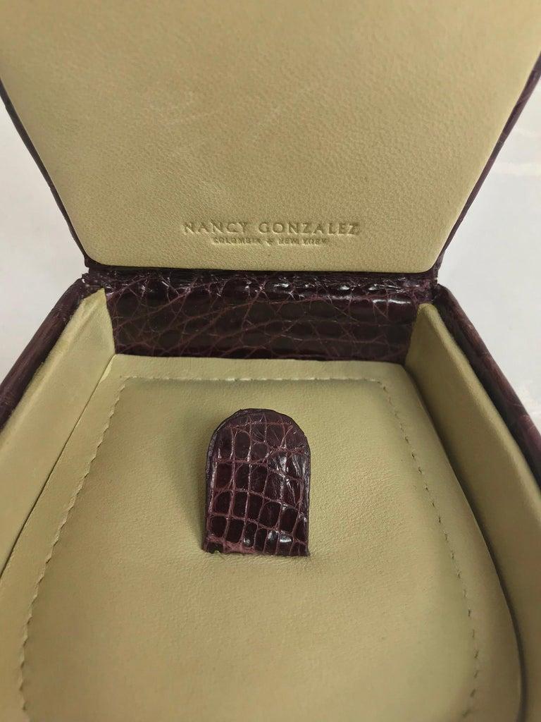 Nancy Gonzalez Burgundy Crocodile Jewelry box For Sale 2