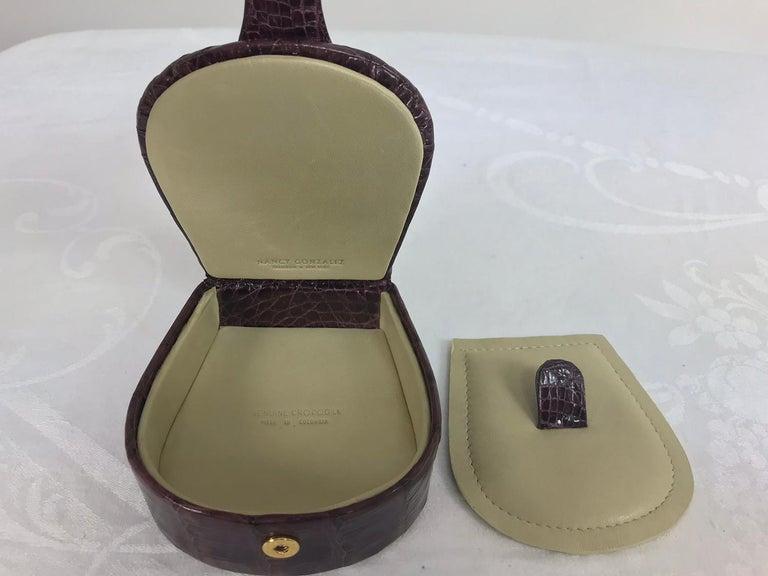 Nancy Gonzalez Burgundy Crocodile Jewelry box For Sale 3