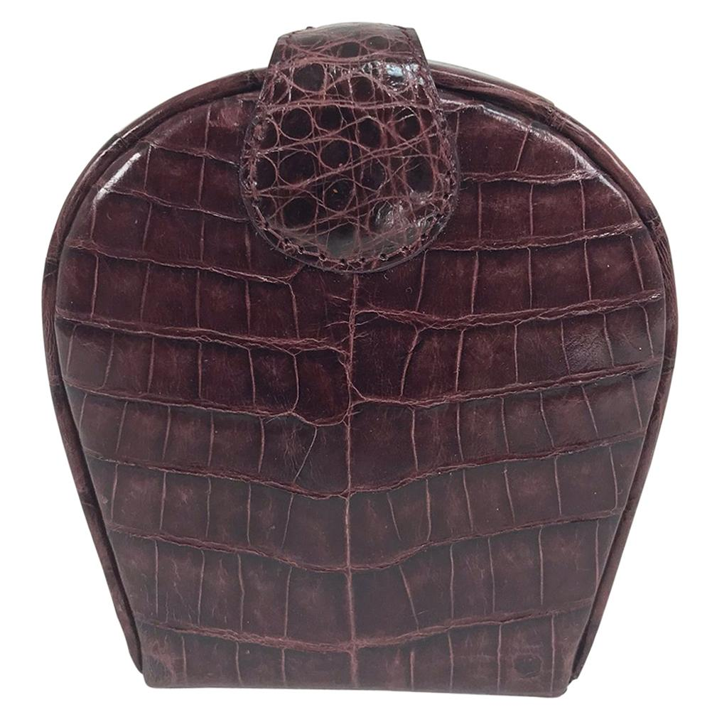 Nancy Gonzalez Burgundy Crocodile Jewelry box