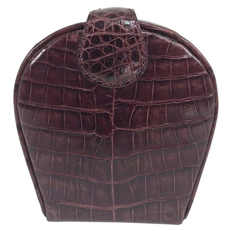 Nancy Gonzalez Burgundy Crocodile Jewelry box For Sale