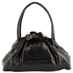 Nancy Gonzalez Flower Frame Top Handle Bag Crocodile Large
