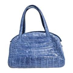 Nancy Gonzalez Genuine Crocodile Blueberry Tinted Leather Bag