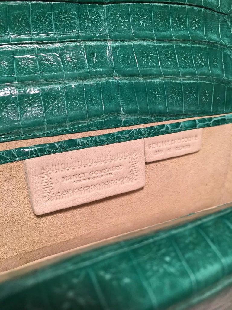 Nancy Gonzalez Green Crocodile Handbag For Sale 4