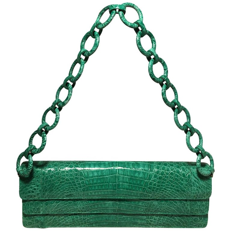 Nancy Gonzalez Green Crocodile Handbag For Sale