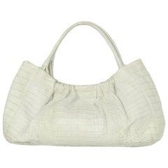 Nancy Gonzalez Off-White Crocodile Shoulder Bag