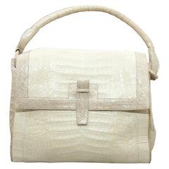 Nancy Gonzalez White & Beige Crocodile Handbag