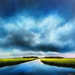 Blue Clouds Marsh, Oil Painting