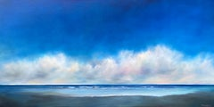 Blue Sky Beach Clouds, Oil Painting