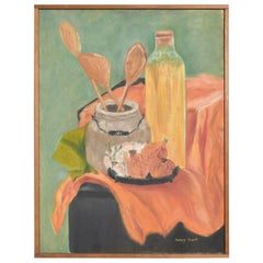 Nancy Krout Oil on Canvas Panel Still Life Art Painting Signed