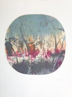 """Blue Moon 7"", abstract landscape print, graphite, violet, orange, silver blue."