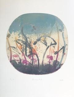 """Blue Moon 8"", abstract landscape print, graphite, violet, orange, silver blue."
