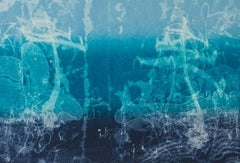 """Catch The Wind Two"", abstract seascape monoprint, shades of blue, turquoise."