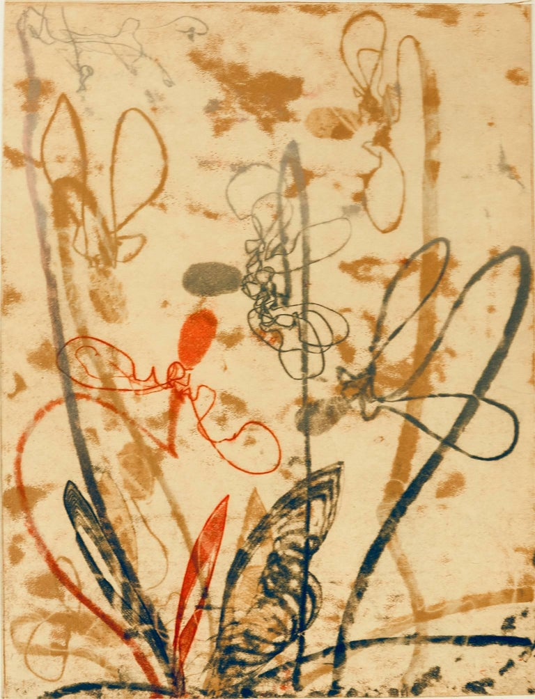 """""""Flowerage With Blue #2"""" is lyrical trace monoprint created using a graduated relief roll.  Printed in red, yellow ochre, and graphite on Thai kitikata paper, collaged to 100% cotton rag paper, signed in pencil lower right corner.  The image size is"""