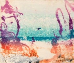 """""""Sea Shoals #1"""", abstract seascape monoprint in magenta, turquoise, and orange."""