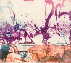 """Sea Shoals #4"", abstract seascape monoprint in magenta, turquoise, and orange."