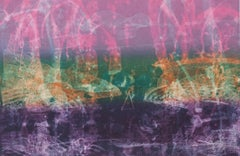 Through The Straits, abstract seascape monoprint, pink,orange, turquoise,violet.