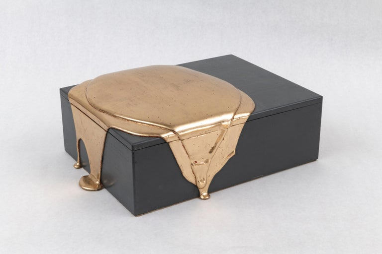 Ebony and Moongold Box - Sculpture by Nancy Lorenz
