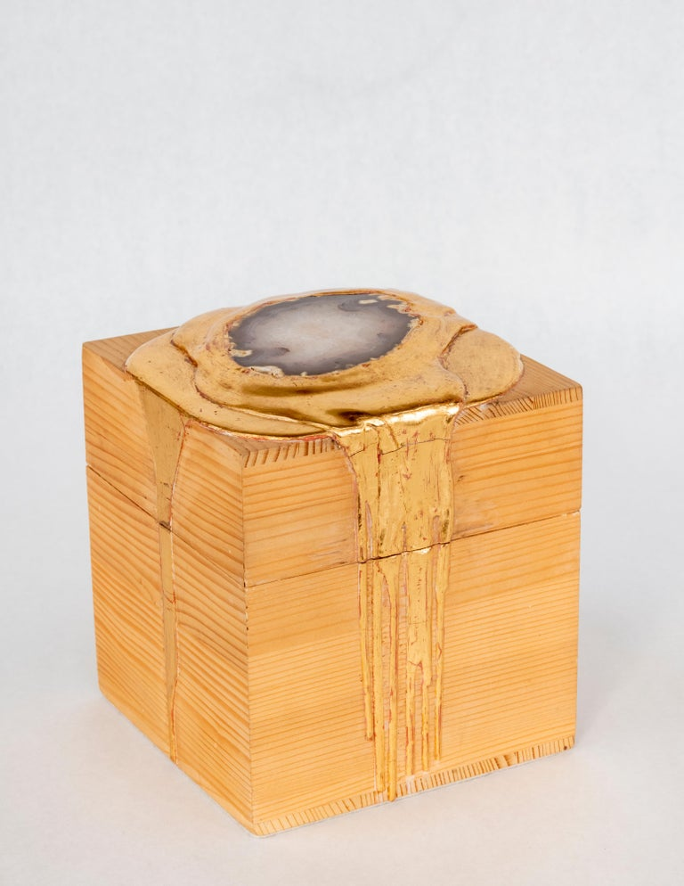Gold and Agate Box - Sculpture by Nancy Lorenz