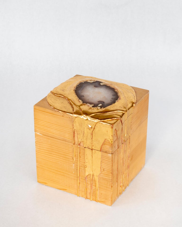 Nancy Lorenz Abstract Sculpture - Gold and Agate Box