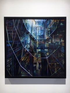 """""""Ascent"""", Contemporary Geometric Abstract Oil Painting on Wooden Panel, Framed"""