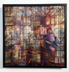 Reflections I, Contemporary Oil Painting on Canvas Mounted on Wood Panel, Framed