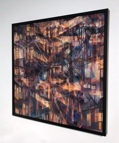 """Savoy 1"", Contemporary, Abstract, Oil Painting, Framed, Architecture, Interior"