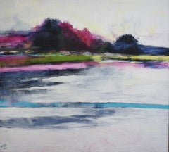 Color Hazes (Contemporary Abstracted Landscape Painting in Silver & Magenta)