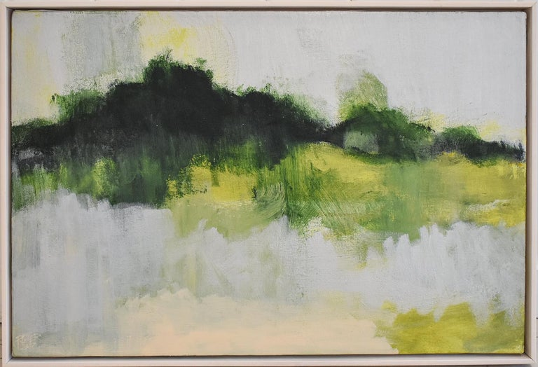 Early Frost: Contemporary Abstracted Landscape Painting of Green & Silver Field - Beige Abstract Painting by Nancy Rutter