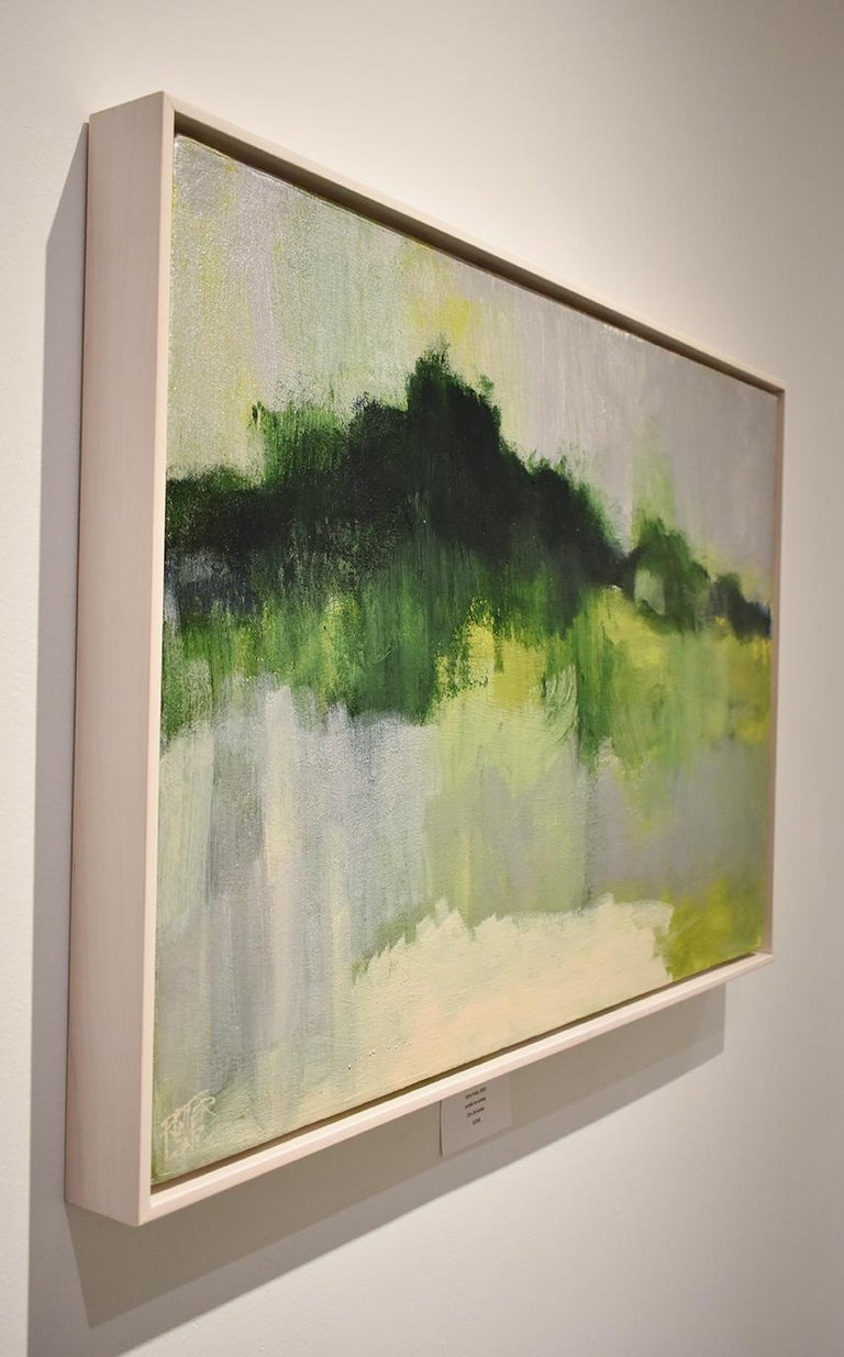 Gestural abstracted landscape painting of green field with silver frost Early Frost, painted by Nancy Rutter in 2019 20 x 30 inches in custom white stained wood floater frame Signed on the reverse Ready to hang  Inspired by the seasonality of color