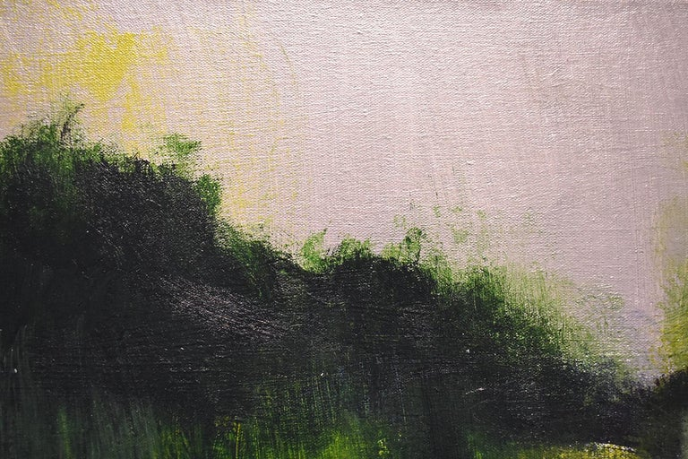 Early Frost: Contemporary Abstracted Landscape Painting of Green & Silver Field For Sale 1