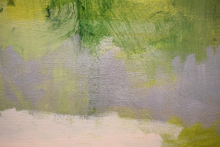 Early Frost: Contemporary Abstracted Landscape Painting of Green & Silver Field For Sale 2