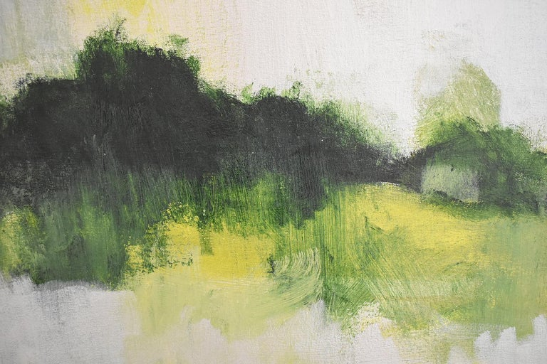 Early Frost: Contemporary Abstracted Landscape Painting of Green & Silver Field For Sale 3