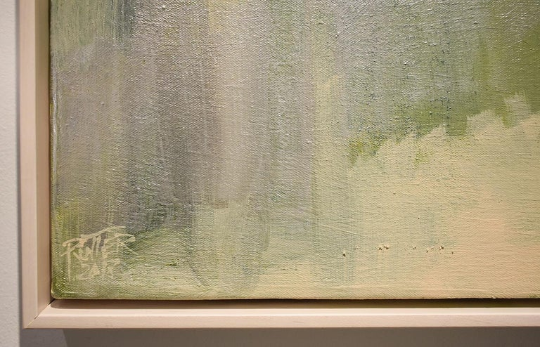 Early Frost: Contemporary Abstracted Landscape Painting of Green & Silver Field For Sale 5