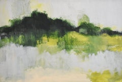 Early Frost: Contemporary Abstracted Landscape Painting of Green & Silver Field