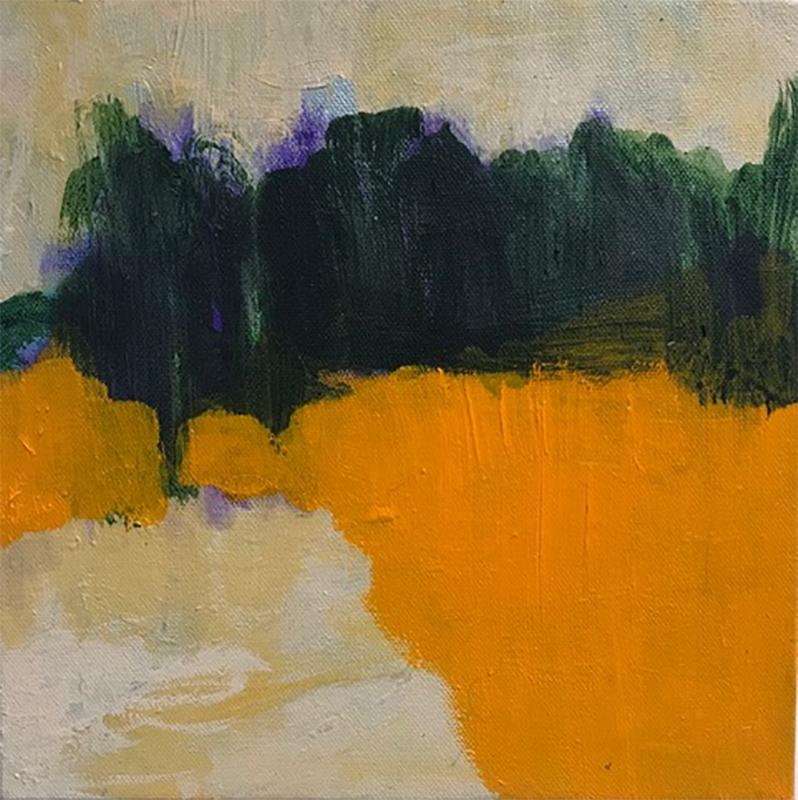 Friday Walk (Ethereal Abstracted Landscape, Orange and Emerald Green on Canvas)