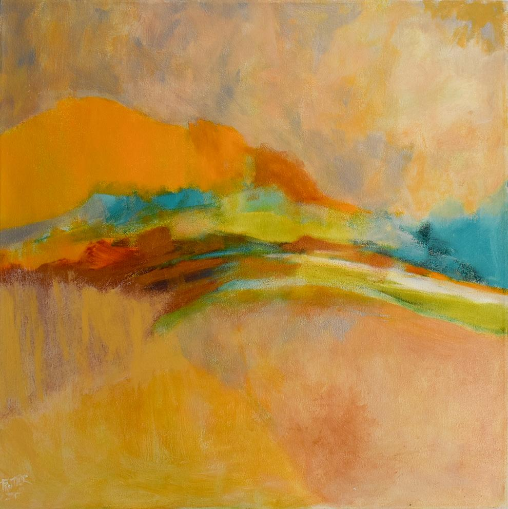 Gold March (Large Colorful Abstract Painting on Canvas, Yellow/Orange and Teal)